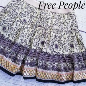 Free People Boho Floral Sequin Mini Skirt
